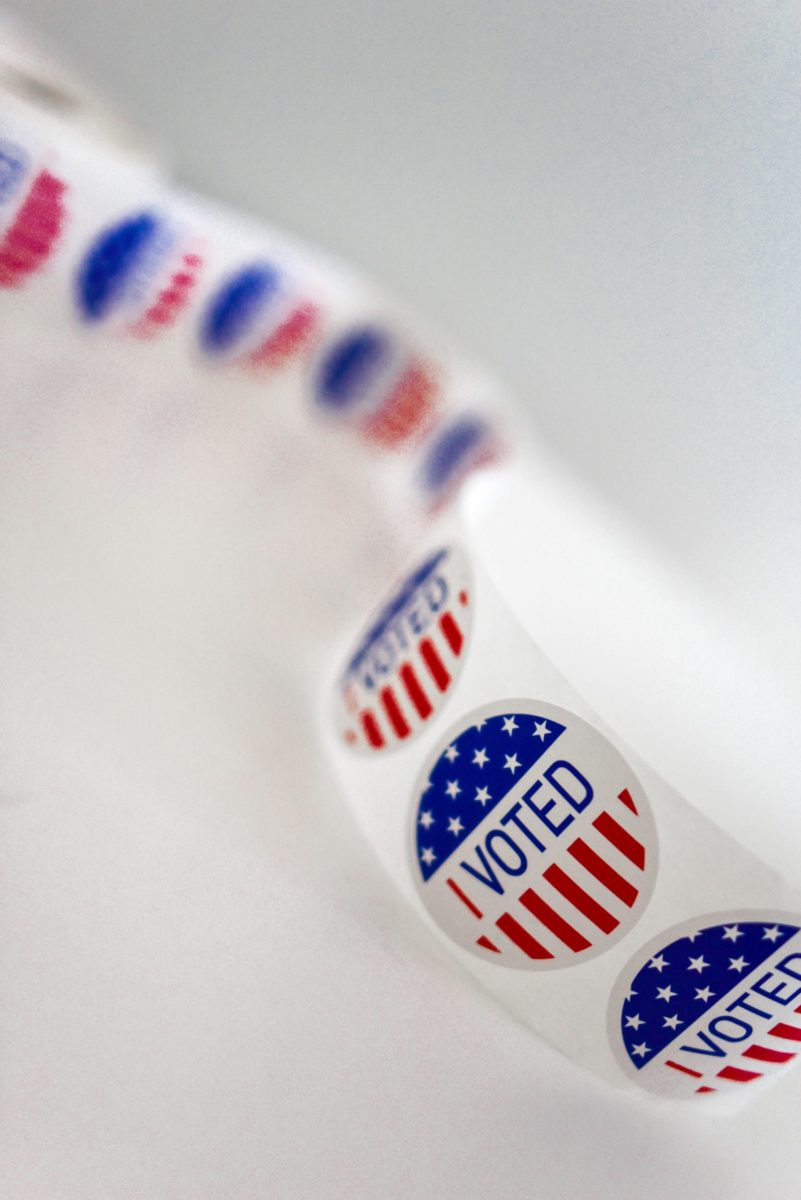 "A photo of a roll of American flag ""I Voted"" stickers"