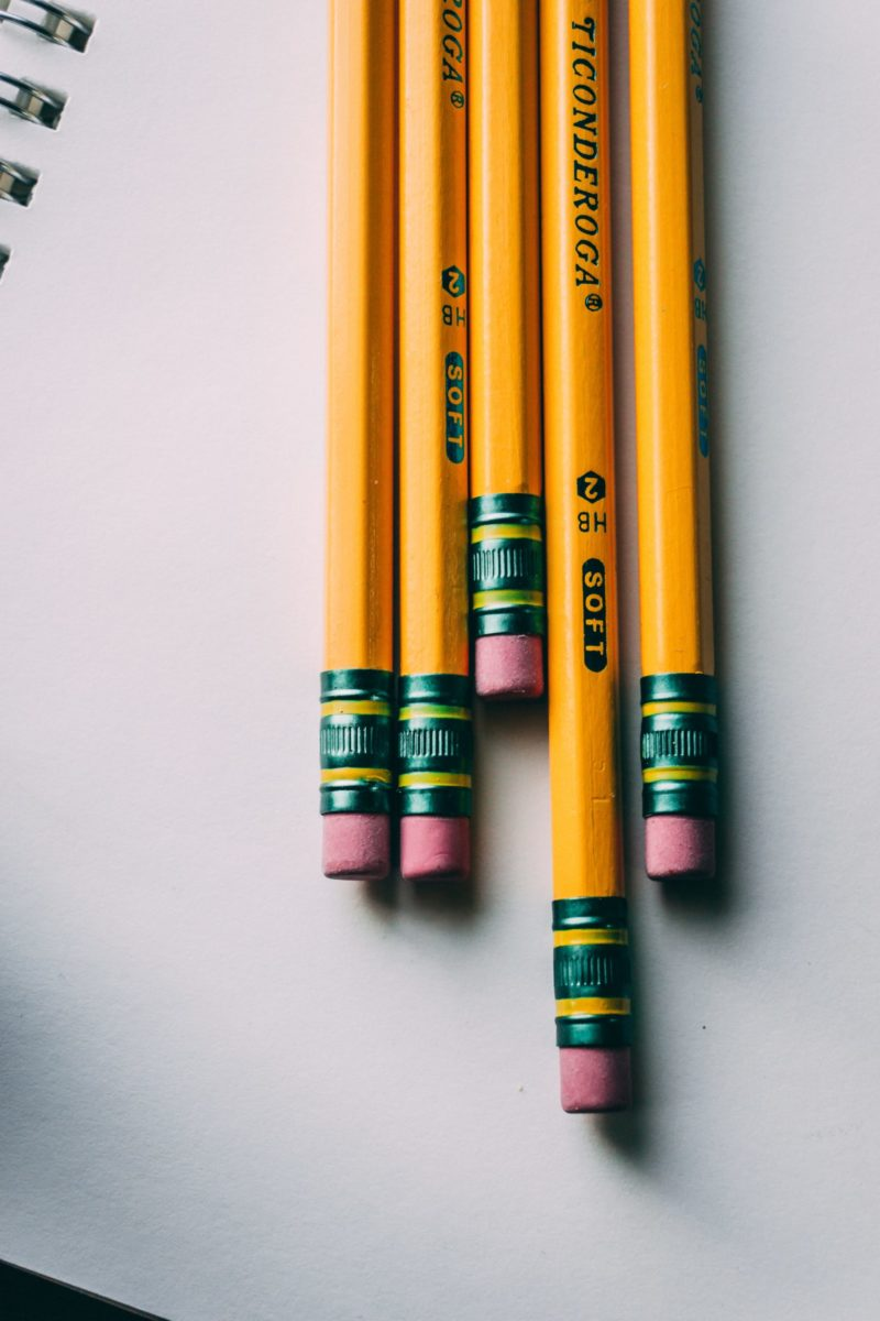 Photo of yellow number 2 pencils on a white sheet of paper.