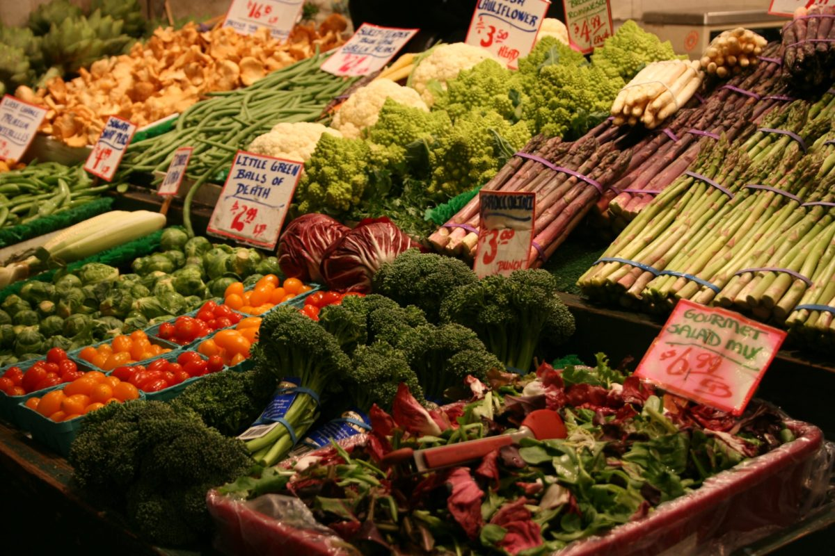 Vegetables in a display case at a market