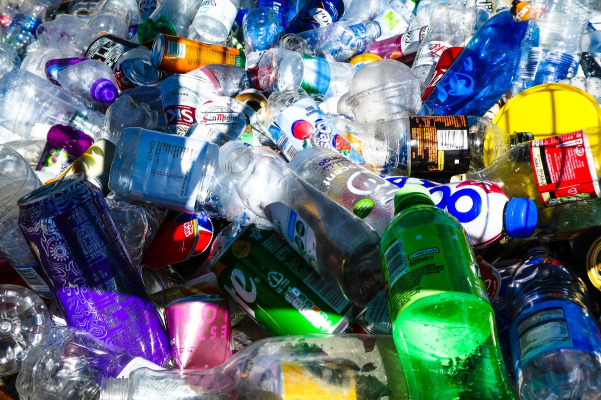 Plastic bottles and other recyclables in a pile.