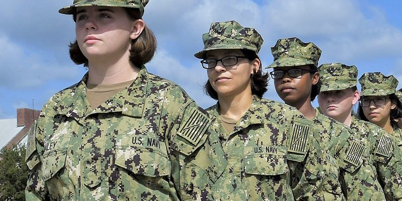 Uniformed female sailors in formation.