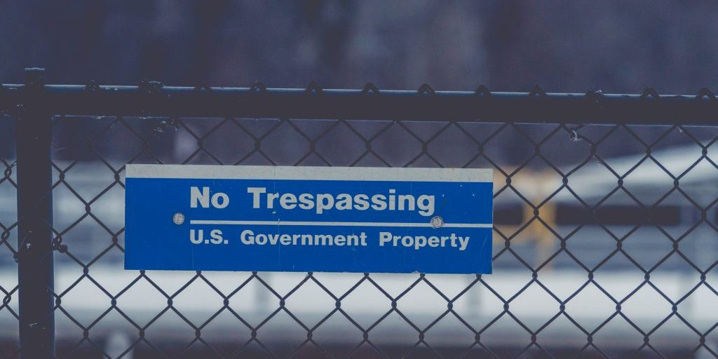A 'No Trespassing' sign at Lock & Dam 8 along the Mississippi River near Genoa, Wisconsin.